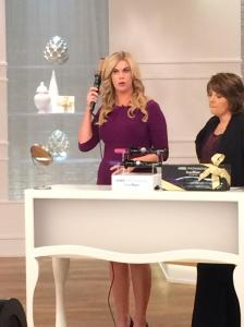 Selling the Kiss Instawave automatic curling iron on QVC